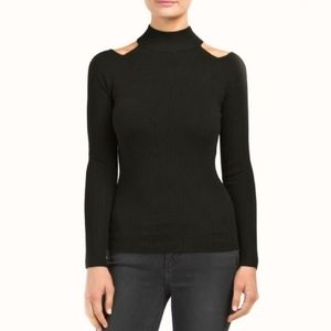 Black Rib Cut Out Shoulder Sweater
